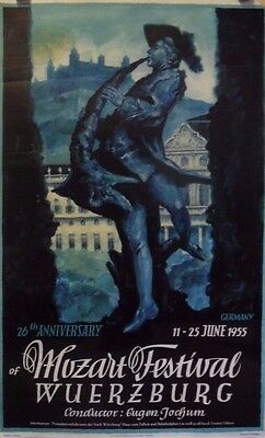 26th Anniversary Mozart Festival | Wuerzburg | Orig. German 1955 Travel Poster