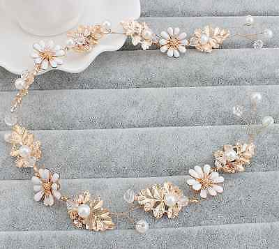 Designer Wedding Rose Gold Hair Jewelry With Pearls Bridal Fashion Accessory
