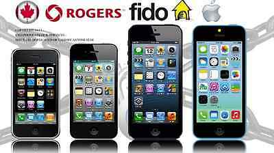 ROGERS OR FIDO - APPLE iPHONE UNLOCK - ANY MODEL - SAME DAY - 1 HOUR OR LESS