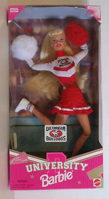 GEORGIA BULLDOGS Blonde Barbie Special Edition Cheerleader Doll Mattel 1996