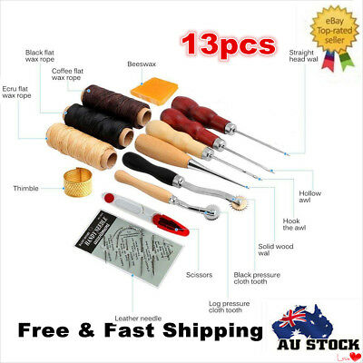 13PCS Set Leather Craft Hand Stitching Sewing Tool Thread Awl Waxed Thimble New