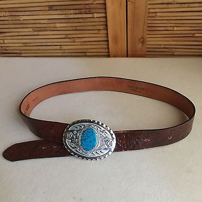 Vintage 'JUSTIN' Tan TOOLED Leather SILVER Turquoise CONCHO Cowboy WESTERN Belt