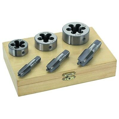 """6 Pc 1/4"""" 3/8"""" 1/2"""" Inch Steel Tap & And Die Tool Threader Thread Kit For Pipe"""