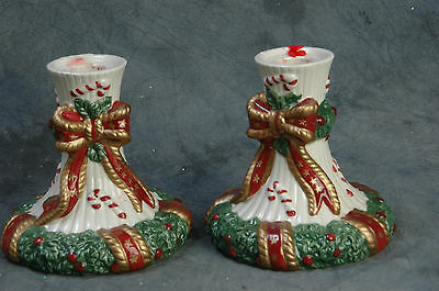 2 Matching Fitz & Floyd Taper Holly & Ribbon Holiday Candle Holders