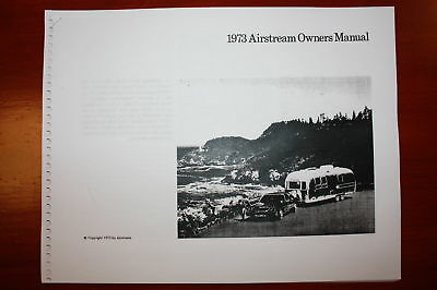 Airstream Vintage Travel Trailer Owners Manual 1973