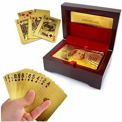 24K Gold Foil Plated Waterproof Game Poker Playing Cards With Wood Box