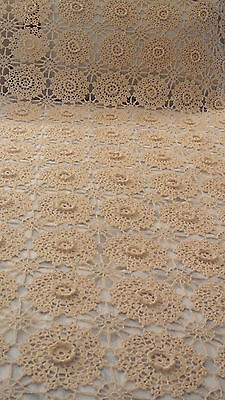 CROCHETED FULL/DOUBLE  BEDSPREAD  ECRU HAND MADE Vintage 92X100