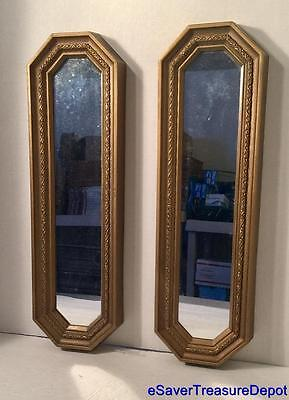 "HOMCO 19"" Accent Wall Mirrors - Lot of 2 Gold Home Interiors Decoration"