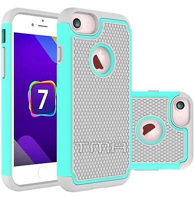 Fits iPhone 7 Case Shockproof Rugged Rubber Impact Hybrid Armor Cover - Teal