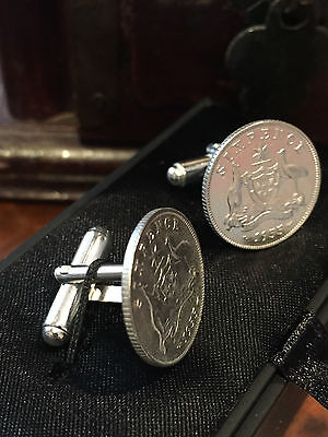 Choose the Year - Australian Silver Sixpence - Sterling Silver Cuff Links