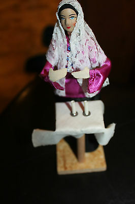 1950's Vintage Hand Made Lady at altar by candles by Sabra in Israel