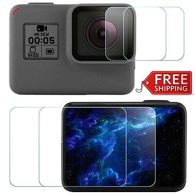 HERO 6 / 5 Screen & Lens Protector Tempered Glass For Gopro Sport Camera 4Pcs
