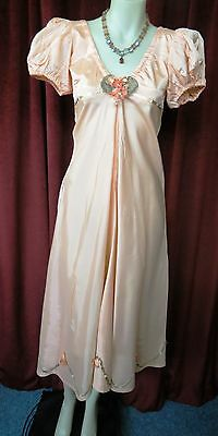 20's True Vtg Apricot Sweet Satin Dress with Paper Flowers Sequins.