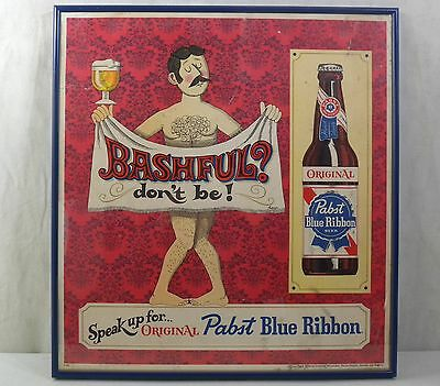 VTG Pabst Blue Ribbon Beer Framed Sign Bashful Don't Be Naked Man Cardboard PBR