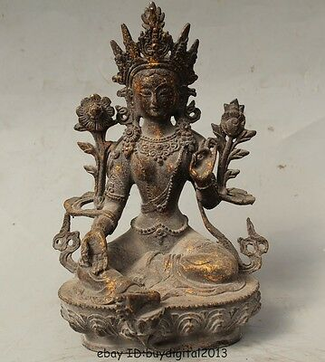 "9"" Tibet Buddhism Bronze Gild Seat Green Tara Mahayana Enlightenment Goddess"