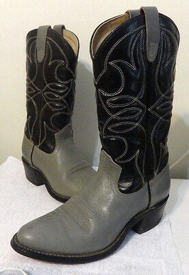 Cowboy Boots Made in USA size 8D Lightly worn Gray Black