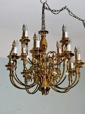 Antique Brass Tulip 12 Arm 2 Tier Chandelier Colonial Dutch Chandelier Works