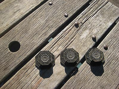 Vintage * TOYO * Ornate Brass Drawer Cabinet Knob with Backplate Set of 3 JAPAN