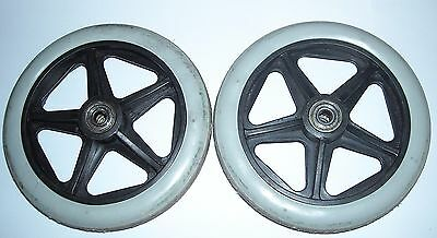 2 x USED 150MM SOLID FRONT WHEELCHAIR WHEELS WITH BEARINGS, WHEELCHAIR TYRES