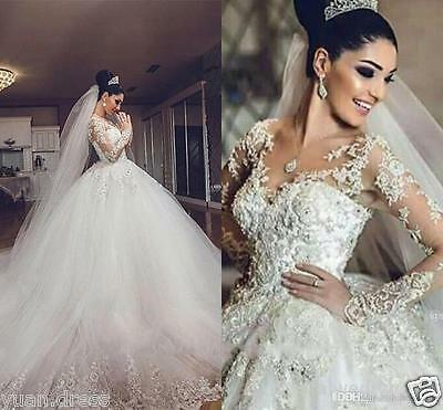 2017 Luxury A-line Lace Applique Wedding dress Long Sleeve Bridal Wedding Gowns