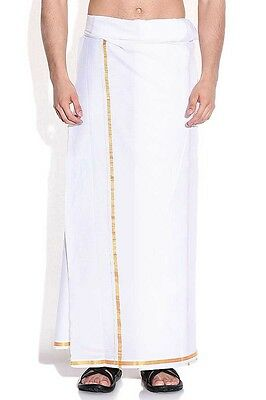 Plain Dhoti Off-white Traditional Wedding and Festival Cotton South Indian .