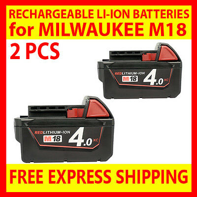 2 REPLACEMENT BATTERIES for MILWAUKEE M18 4Ah 4000mAh 18V RED LITHIUM ION LI-ION