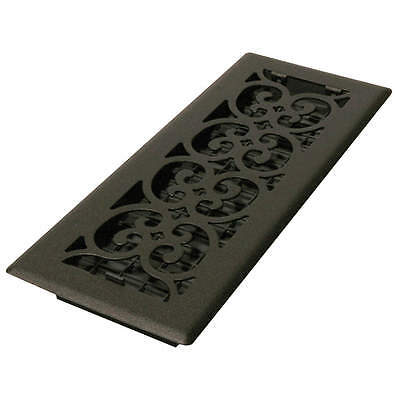 DECOR GRATES 4x12 Scroll Steel Painted Textured Black ST412