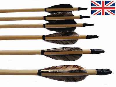 """6 X 30"""" British Artisan Traditional Wooden Feather Archery Arrow 35-50#"""