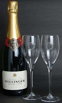 Bollinger Champagne Crystal Flutes  X 2  Brand New Unboxed