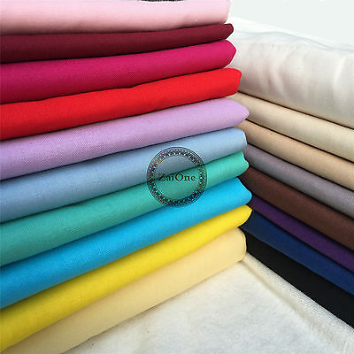 Plain Solid 100% Cotton Fabric Material Quilting Sewing Dress Patchwork Crafts