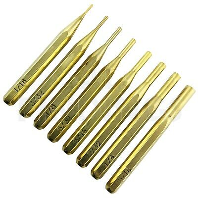 "Hexagonal 8pc Brass Punch Pin Drive Set 1/16 ""to 5/16"" tool watch craft"