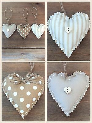 Set Of 3 Shabby Chic Hanging Love Hearts / Padded Hanging Hearts