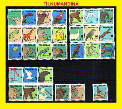 KOLUMBIEN COLOMBIA 1980 FAUNA TIEREN EDUCATION POSTFRISCH MNH Mi 1418-47