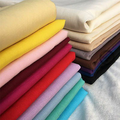 Natural 100% Cotton Fabric Sheeting Sewing Crafts Plain Solid Colours Per Metre
