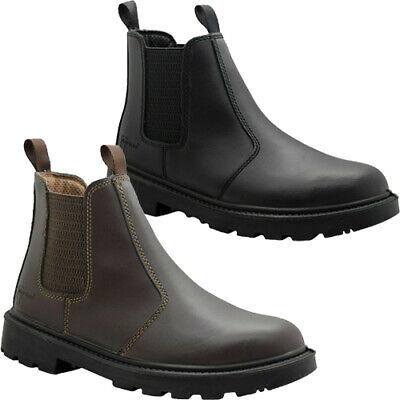 Grafters Leather Dealer Chelsea Steel Toe Cap Safety Boots Work Shoes Sizes 3-16