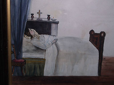 Rare Antique 19Th C Memento Mori Painting Lady With An Angel Above Her Death Bed