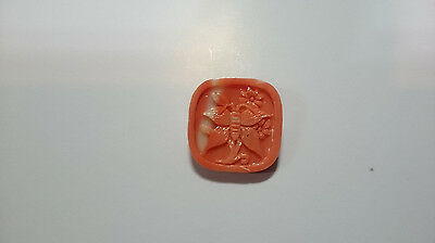 Beauty Hand CARVING CAMEO ~(coral) ~19mm*19mm(ec352)
