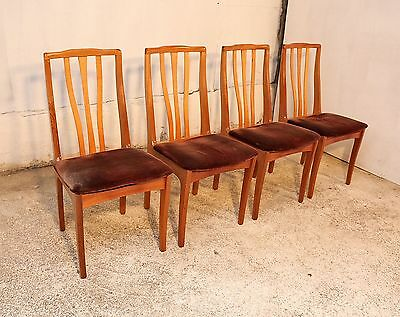 4 Retro Dining Chairs, Solid Wood, Vintage, Mid Century, Kitchen, Dining Room