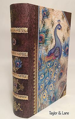 Punch Studio BLUE PEACOCK Faux Small BOOK STORAGE - Gold-Foil, NEW