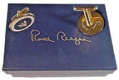 The Genuine President Ronald Reagan Presidential Color Cufflinks  - White House