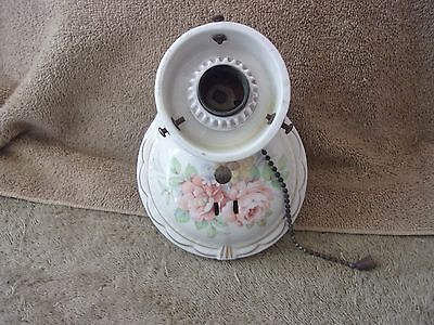 Vgt Art Deco Flower Ceramic Glass Wall Sconce Bath Room Pull Chain Porcelain