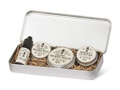 Organic Gift Set by Revered Beard; Beard Oil, Beard Balm, Wax & Whiskey Lip Balm