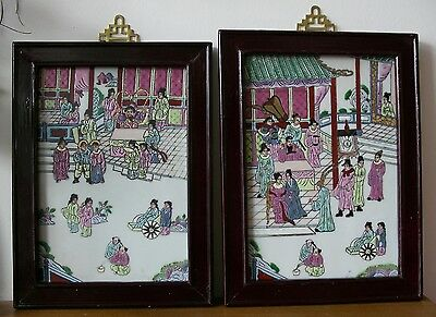 A Pair Of Antique Japanese Embossed Porcelain Tile Paintings
