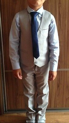 Next Signature 5 Piece Grey Suit Boys Size 6 Years White/ Blue Shirt