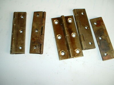 "1 pair of vintage harrisons 2 1/2""solid brass hinges unused old stock"