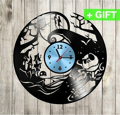 Jack and Sally vinyl record clock Nightmare before christmas gift wall clock LP