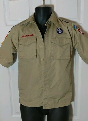 Boy Scouts of America  tan shirt youth medium Patches and weblos