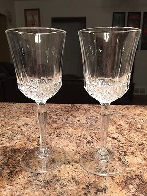 2 Crystal Glass Champagne Wine Water Glasses Vintage Elegant Pretty