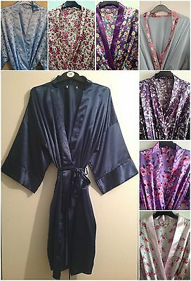 LADIES VARIOUS COLOURS Satin Long Dressing Gown robe In Uk Sizes 8 ... 224c4806f