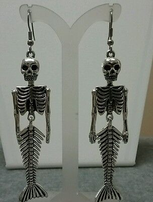 Dia de los muertos mermaid skeleton earrings